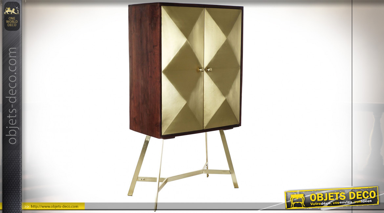 Buffet de style moderne en bois de manguier et acacia, 2 portes en relief finition dorée, 151cm