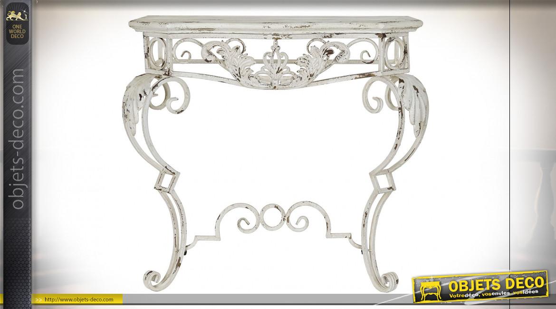 Console en métal esprit fer forgé finition blanc vieilli de style classique, 89cm