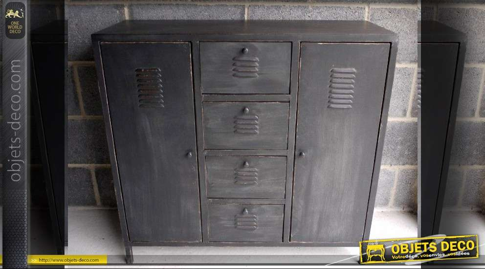 armoire m tallique style industriel finition noir ancien. Black Bedroom Furniture Sets. Home Design Ideas