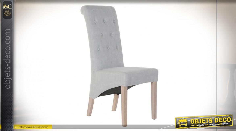 Chaise en bois de caoutchouc et lin, dossier capitonné finition grise de style classique, 107cm
