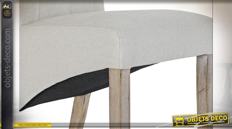 Chaise de style traditionnel en lin finition gris perle et dossier capitonné, 107cm