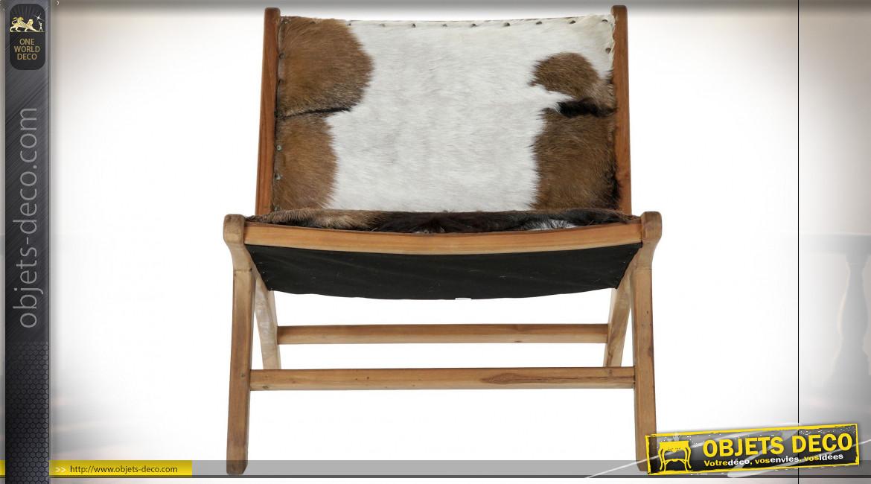 Fauteuil en bois de teck finition naturelle et cuir véritable ambiance campagne chic, 78cm