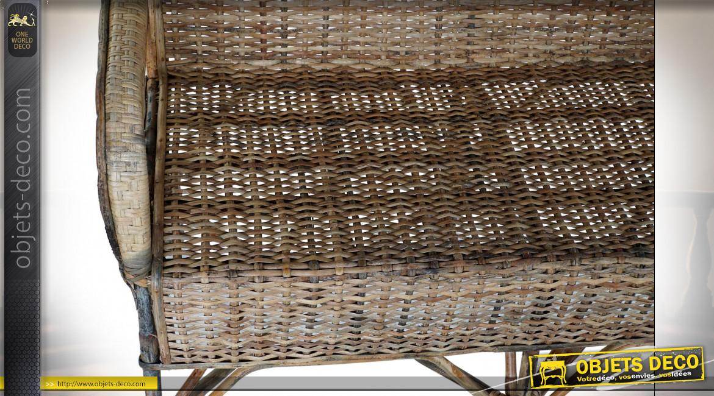 Banc d'intérieur 2 places en rotin finition naturelle de style colonial, 113cm
