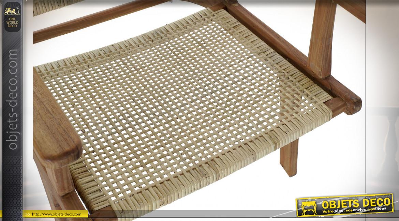 Fauteuil en bois de teck et cannage de rotin finition naturelle ambiance campagne chic, 78cm