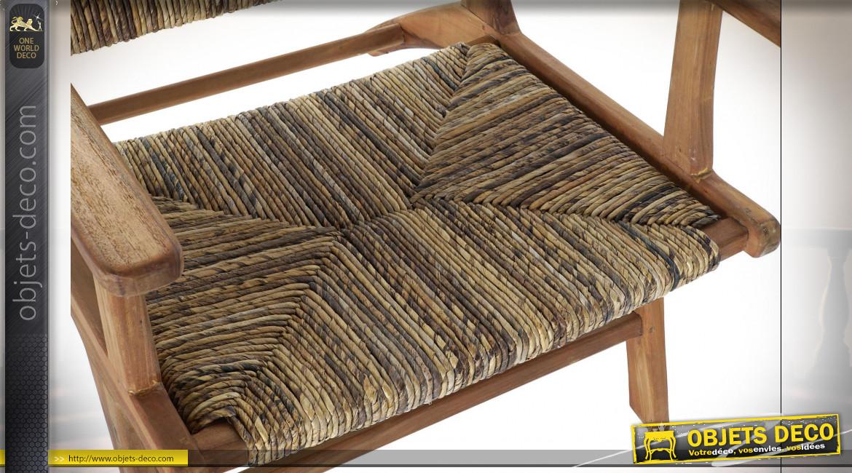 Fauteuil en teck assise et dossier en fibre végétale finition naturelle ambiance campagne chic, 78cm