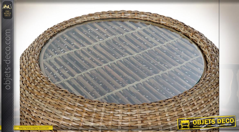 Table basse en rotin finition naturelle et plateau en verre ambiance tropicale, Ø82cm