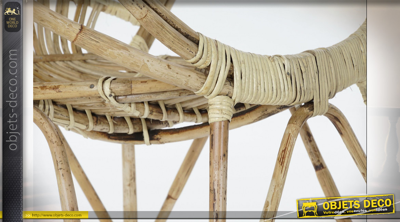Chaise en rotin esprit acapulco finition naturelle ambiance exotique, 81cm
