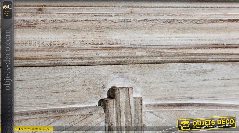 Manteau de cheminée avec ouverture en arrondie, en bois effet brut cérusé, 116cm