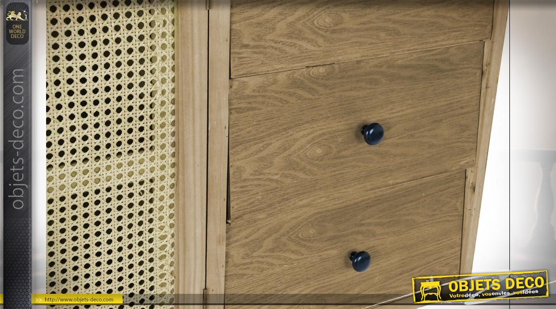 Buffet 2 portes esprit cannage de rotin en bois de sapin finition naturelle ambiance campagne chic, 120cm
