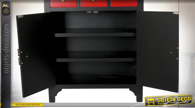 Meuble à tiroirs en bois de sapin finition noire et rouge coquelicot ambiance Japonaise, 101cm