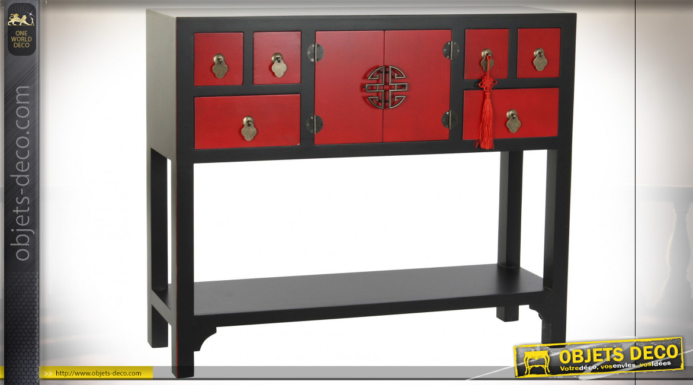 Console à 6 tiroirs en bois de sapin finition noire et rouge carmin de style Japonais, 95cm