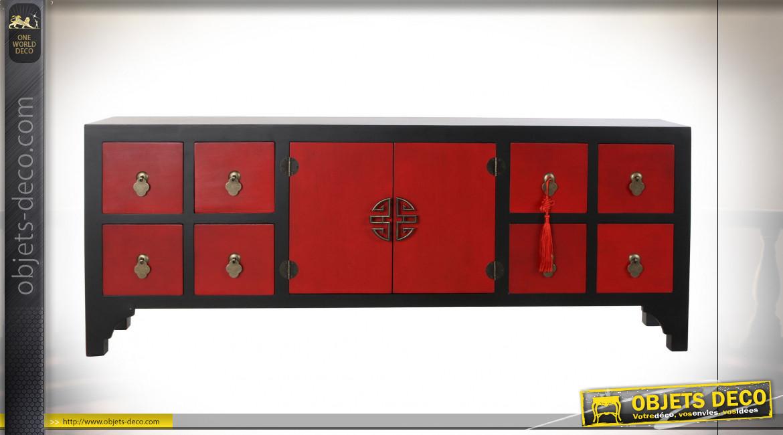 Meuble TV en bois de sapin finition rouge coquelicot et noir ambiance Japonaise, 130cm