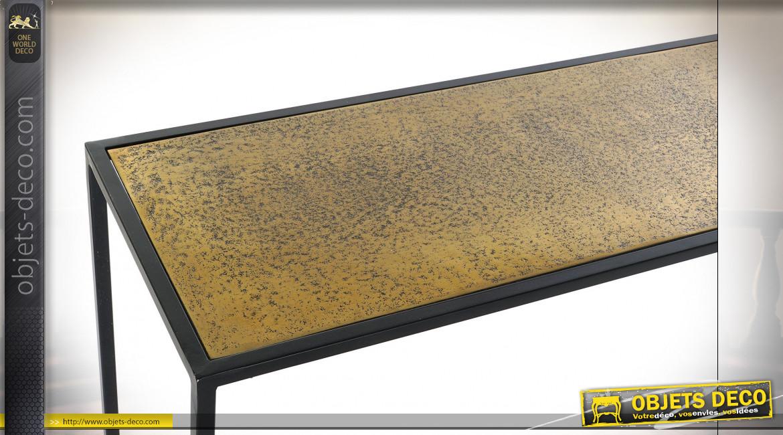 Console de style moderne en aluminium finition noire et dorée, 110cm