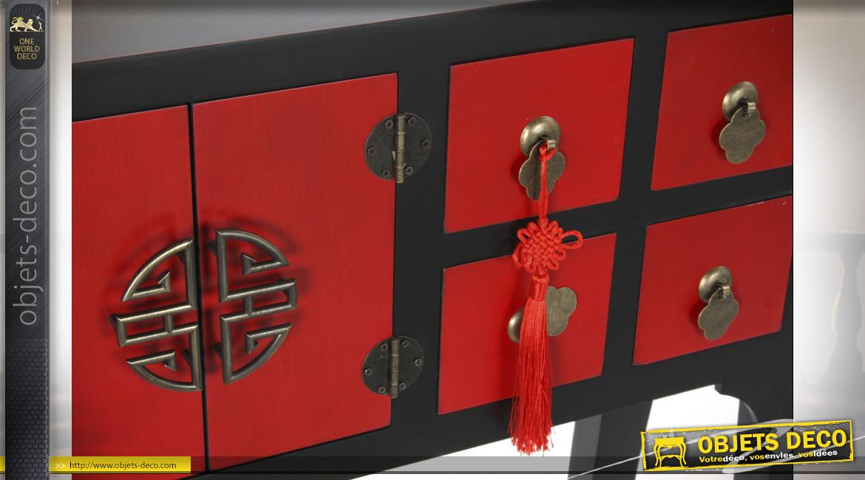 Console de style Japonais en bois de sapin finition rouge coquelicot et noire, 98.5cm