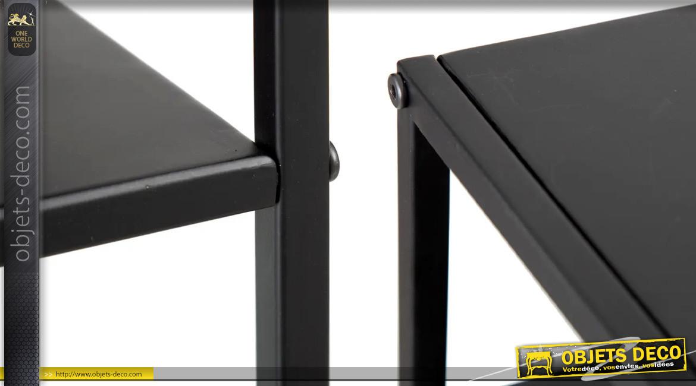 Console étagère  basse en métal finition noir charbon mate, ambiance linéaire, 90cm