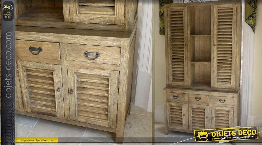 buffet de style rustique en bois massif avec volets. Black Bedroom Furniture Sets. Home Design Ideas