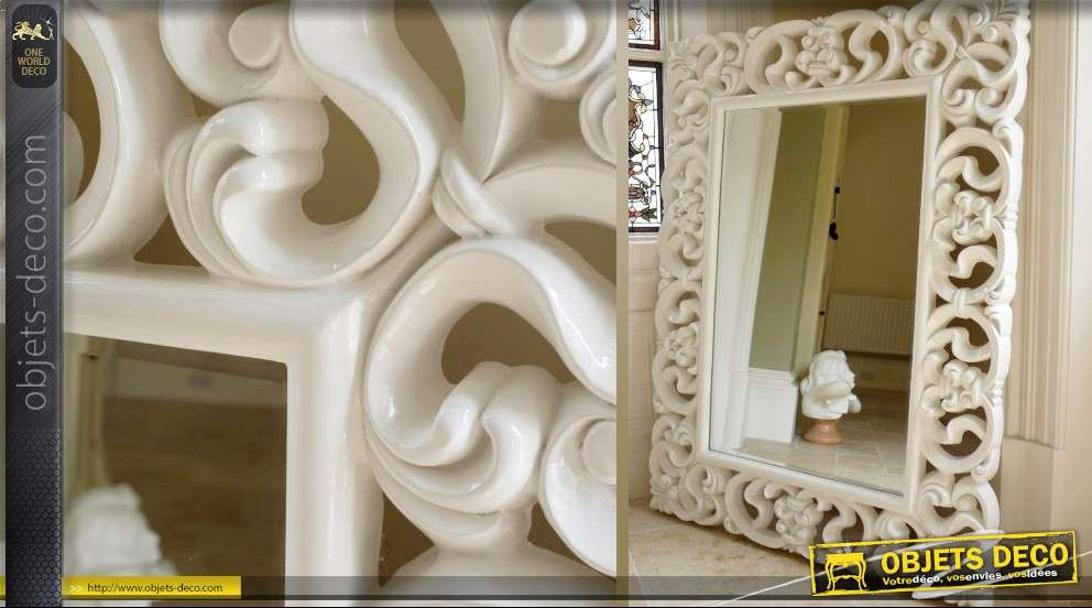 miroir mural de style baroque laqu blanc. Black Bedroom Furniture Sets. Home Design Ideas