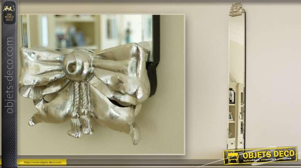 Miroir bandeau vertical style ancien argent 126 cm for Miroir vertical