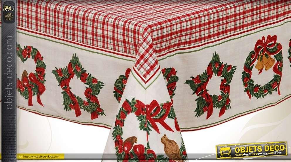 grande nappe 150 x 250 en coton sur le th me des f tes de no l. Black Bedroom Furniture Sets. Home Design Ideas