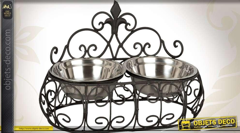 gamelle en m tal noir avec deux bols en inox pour chiens. Black Bedroom Furniture Sets. Home Design Ideas