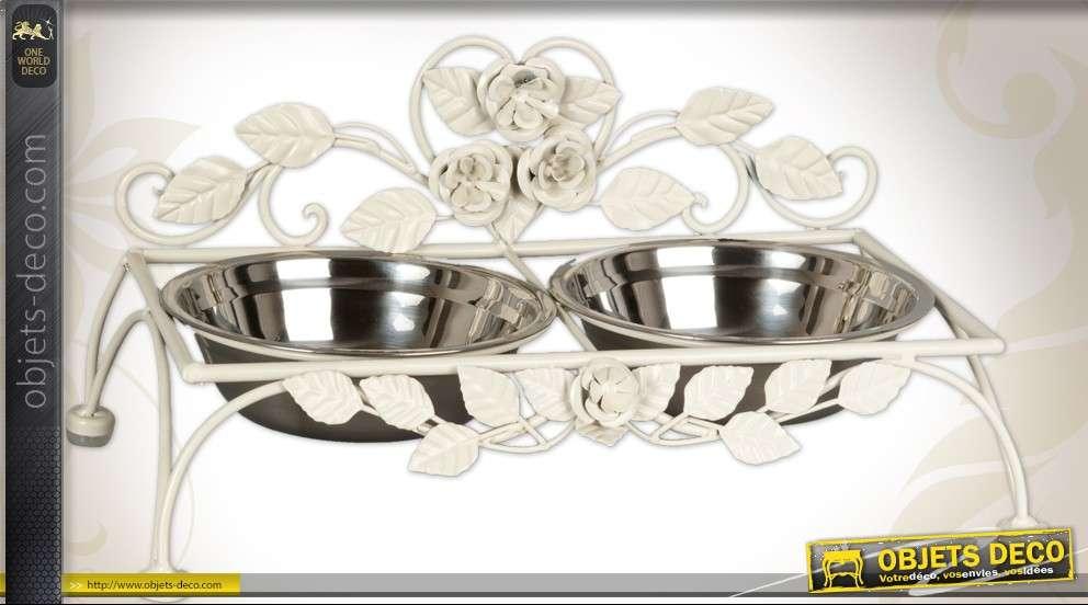 Gamelle pour chien ou chat en métal et inox style romantique
