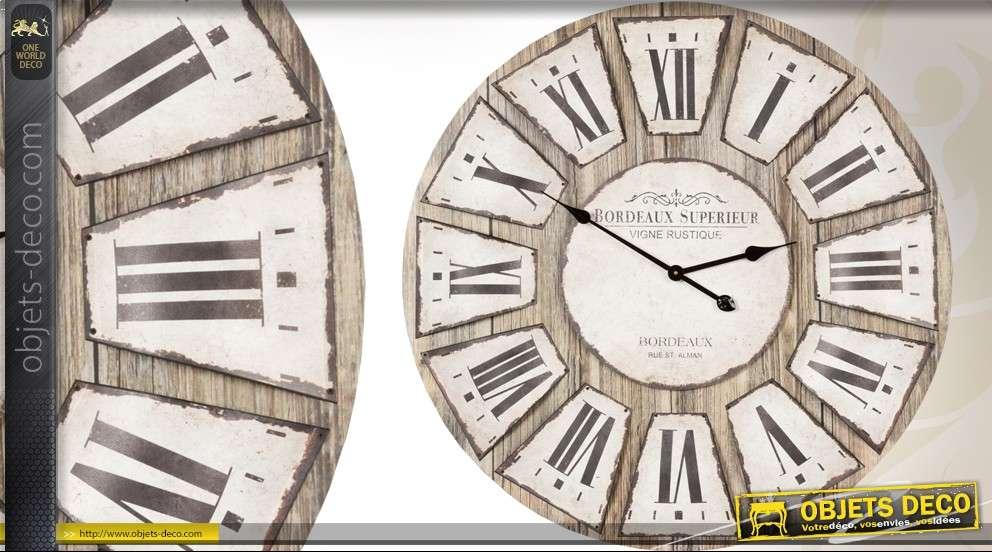 grande horloge murale 80 cm de style rustique