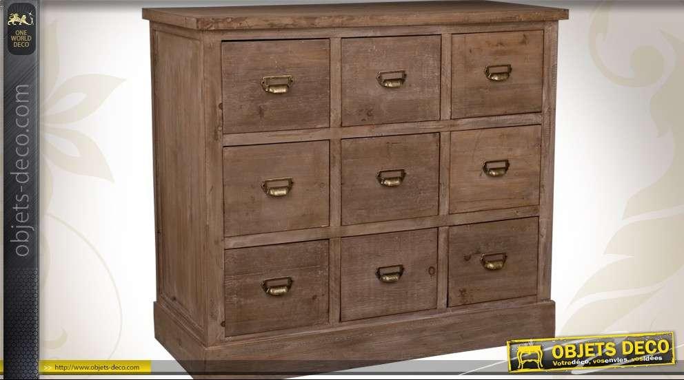 meuble 9 tiroirs de style industriel en bois coloris brun