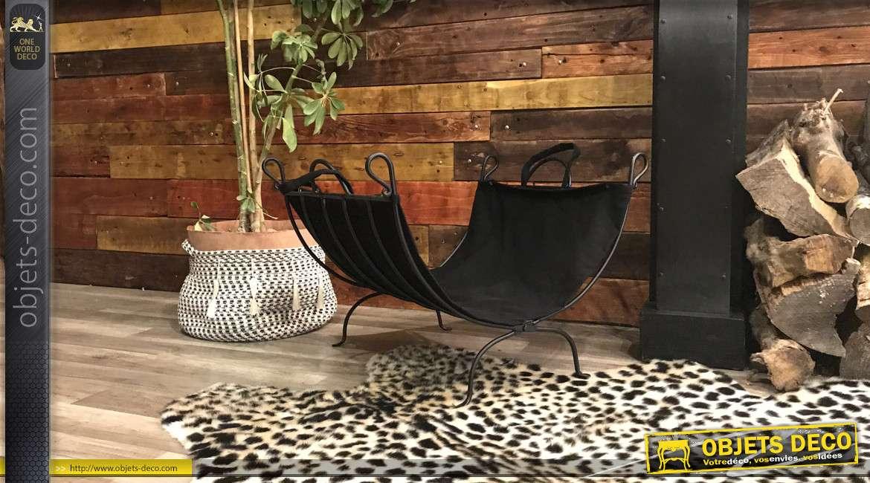 Porte-bûches en fer forgé finition noire et coton épais, esprit vieille maison de campagne, 62cm