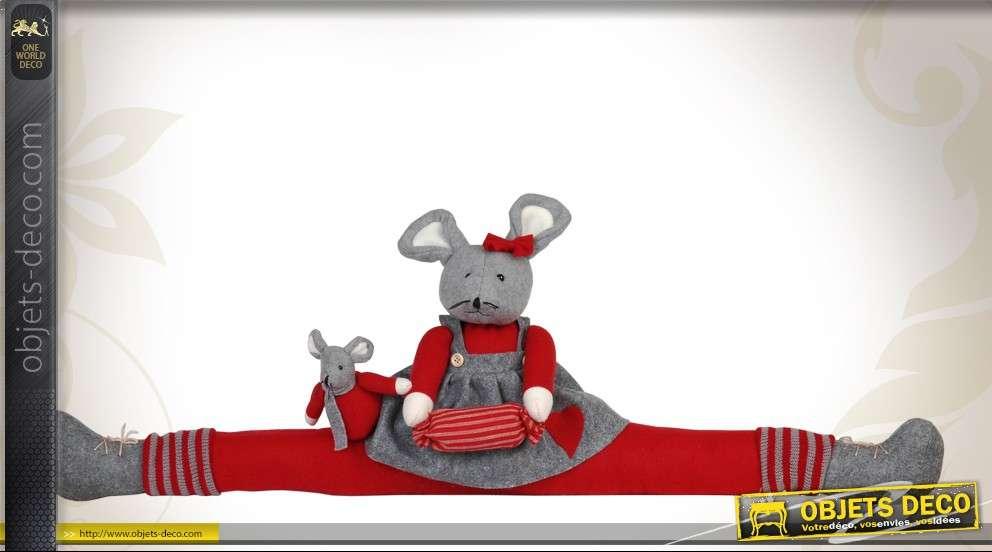 boudin bas de porte d coratif souris grise et rouge en tissu. Black Bedroom Furniture Sets. Home Design Ideas
