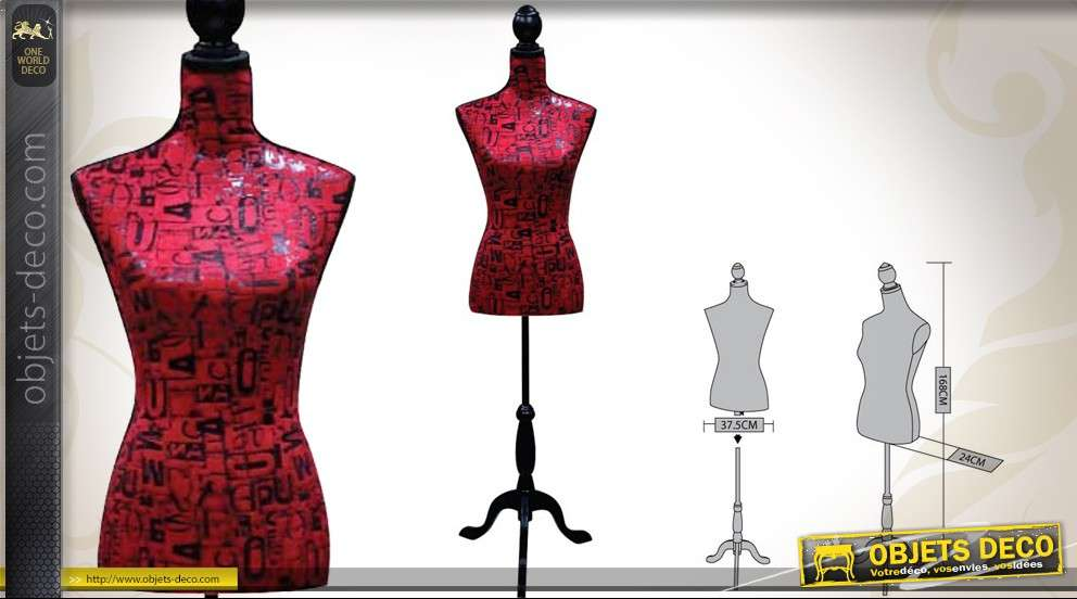 mannequin de couture d coratif coloris rouge motifs lettres. Black Bedroom Furniture Sets. Home Design Ideas