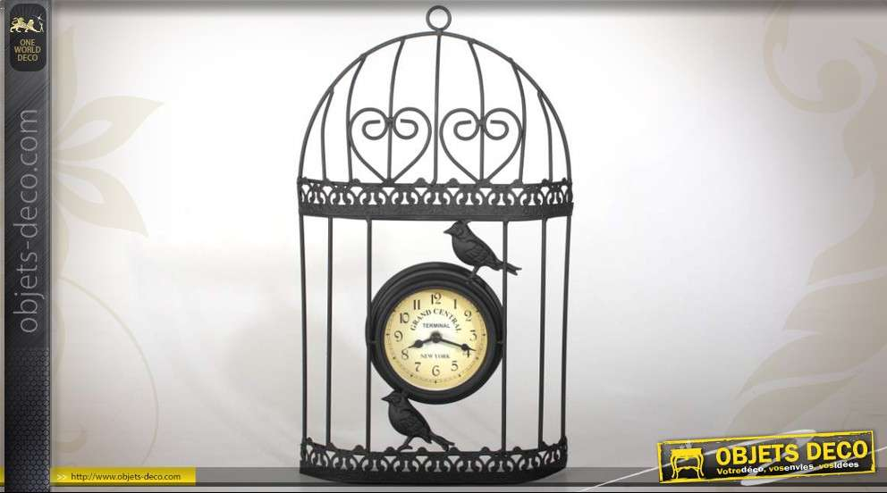 horloge murale d corative en forme de cage oiseaux. Black Bedroom Furniture Sets. Home Design Ideas