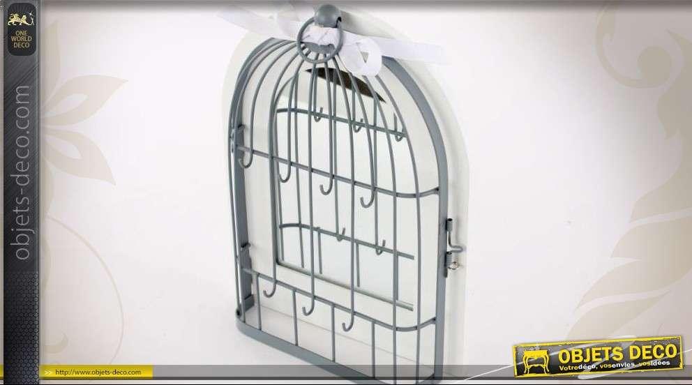 Miroir d coratif bois et m tal en forme de cage oiseaux for Miroir en forme de fenetre