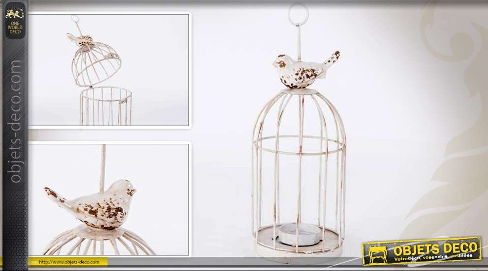 porte bougie en forme de petite cage oiseaux style ancien. Black Bedroom Furniture Sets. Home Design Ideas