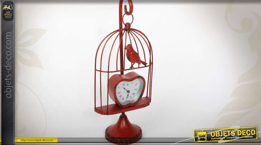 horloge de table rouge antique en forme de petite cage oiseaux. Black Bedroom Furniture Sets. Home Design Ideas