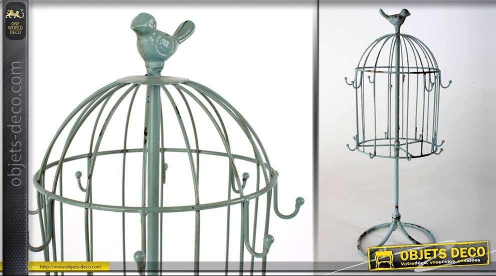 cage oiseaux sur pied avec crochets coloris vert de gris. Black Bedroom Furniture Sets. Home Design Ideas