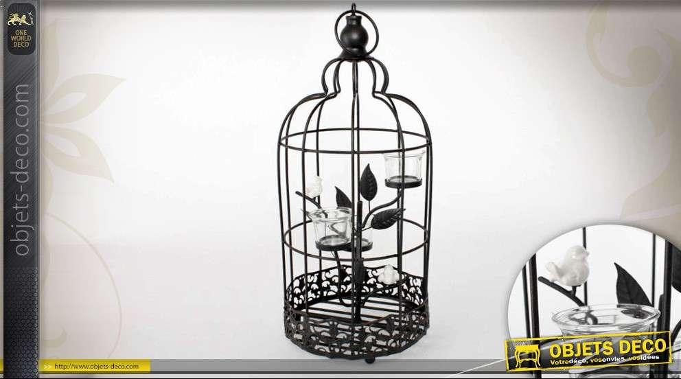 Cage oiseaux avec plante porte bougies en m tal for Cages a oiseaux decoratives