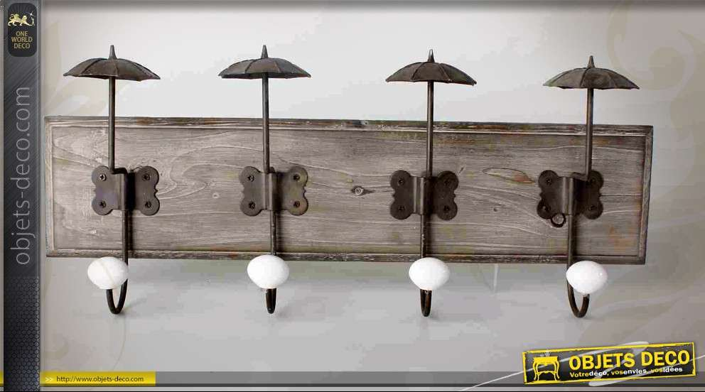 portemanteaux mural bois et m tal avec petits parapluies. Black Bedroom Furniture Sets. Home Design Ideas