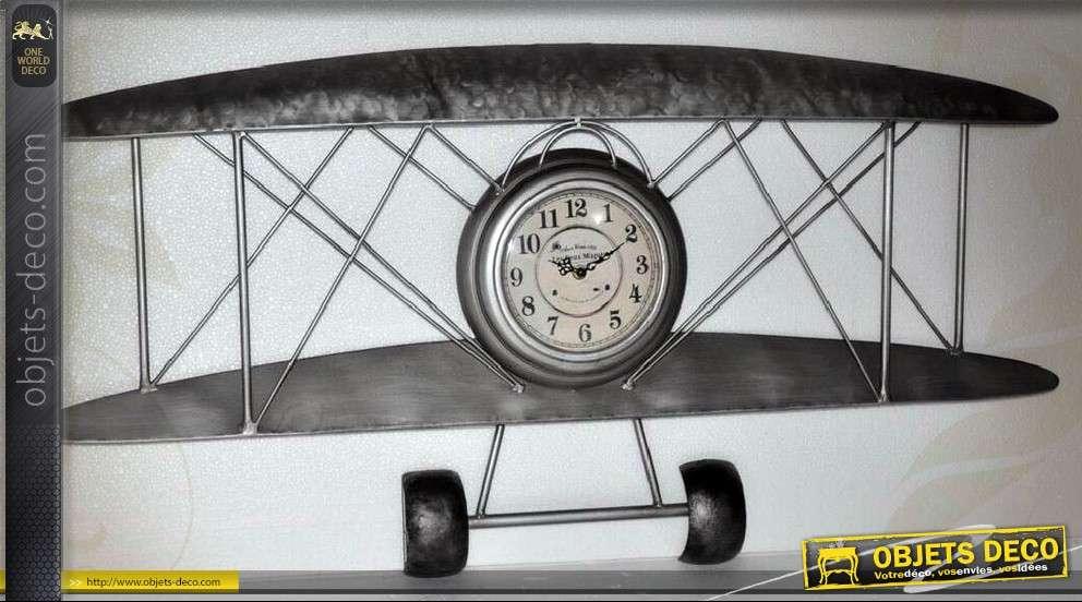 D Coration Murale En M Tal Avion Biplan Avec Horloge