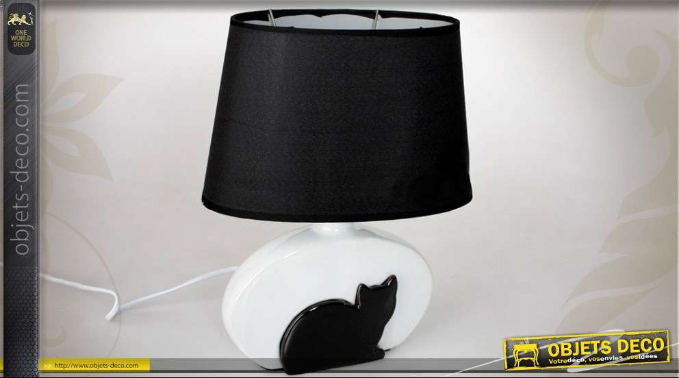 lampe poser pied en c ramique avec ombre de chat. Black Bedroom Furniture Sets. Home Design Ideas