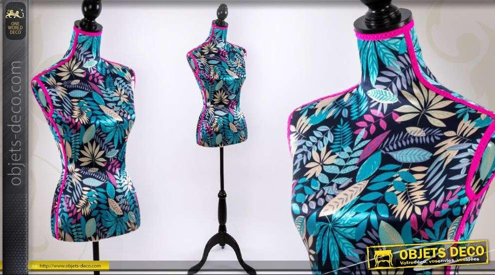 Mannequin de décoration à motifs floraux en tissu métallisé