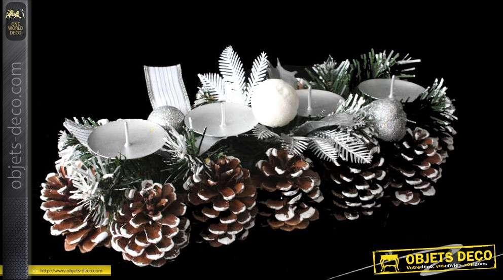 Centre De Table De Noël Pommes De Pin Avec 4 Supports Bougies