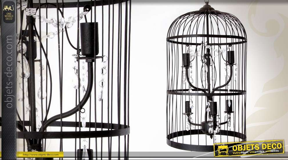 lustre cage oiseaux 6 feux avec pampilles 67 cm. Black Bedroom Furniture Sets. Home Design Ideas