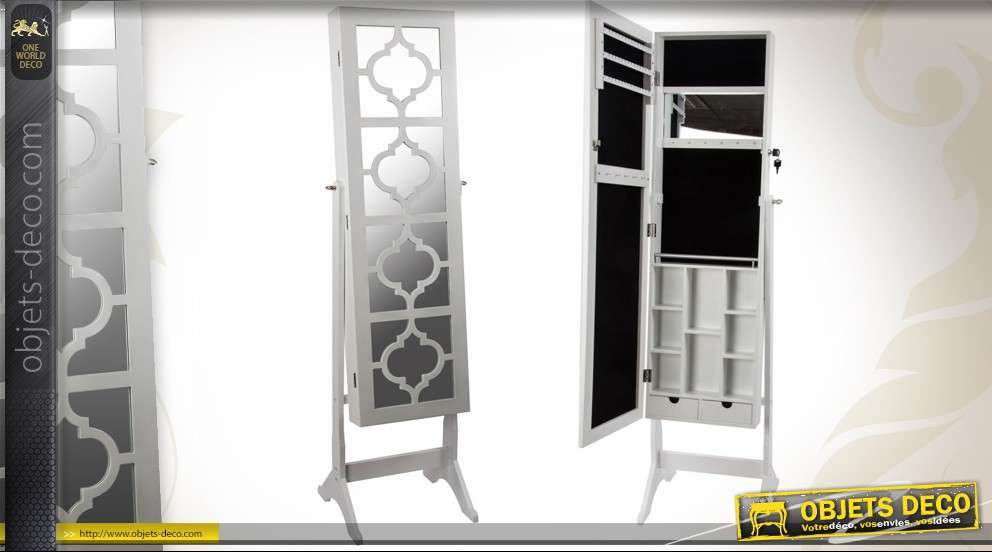 miroir psych avec rangement bijoux coloris blanc. Black Bedroom Furniture Sets. Home Design Ideas