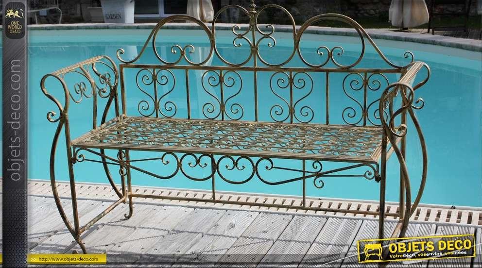 banc baroque en fer forg. Black Bedroom Furniture Sets. Home Design Ideas