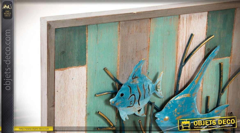 grand cadre mural en bois et m tal de poissons exotiques 100cm. Black Bedroom Furniture Sets. Home Design Ideas
