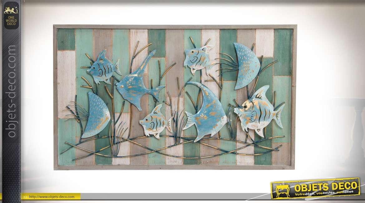 grand cadre mural en bois et m tal de poissons exotiques 100cm. Black Bedroom Furniture Sets. Home Design Ideas