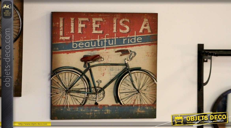 d co murale en m tal tableau avec bicyclette vintage bleue. Black Bedroom Furniture Sets. Home Design Ideas