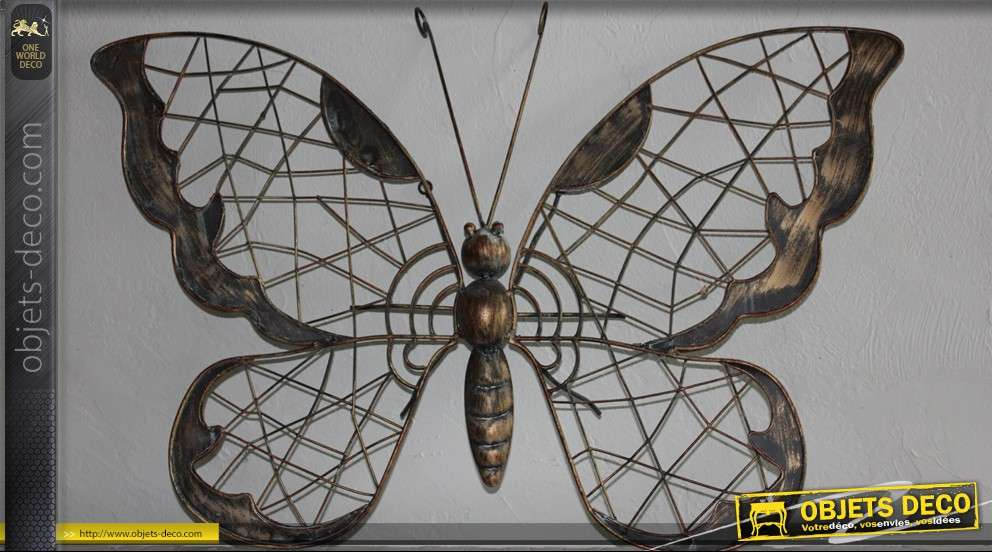 D coration murale en fer forg papillon for Decor mural fer forge