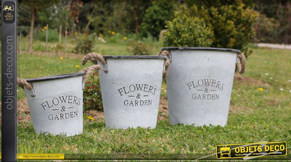 Lot de 3 cache pots décoratifs Flowers and Garden