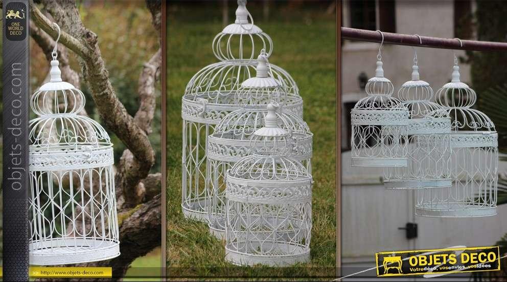 Lot de 3 cages à oiseaux décoratives